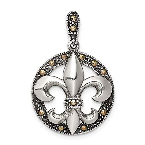 (Bonyak Jewelry Sterling Silver Antiqued Marcasite Fleur De Lis Pendant)