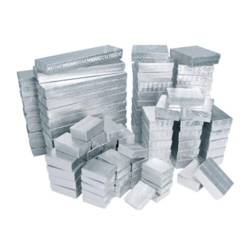 100 Silver Cotton Filled Boxes/ Assorted Sizes 100 Silver Cotton Filled Boxes/ Assorted ()