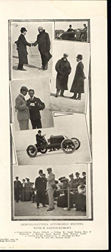 Automobile Meeting Santos Dumont Brazilian Aviator 1904 antique historic print