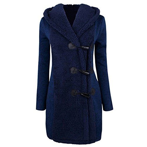 Mose New Fashion Women Long Sleeve Winter Warm Slim Thicker Buttons Parka Hoodie Coat Overcoat (Blue, M)