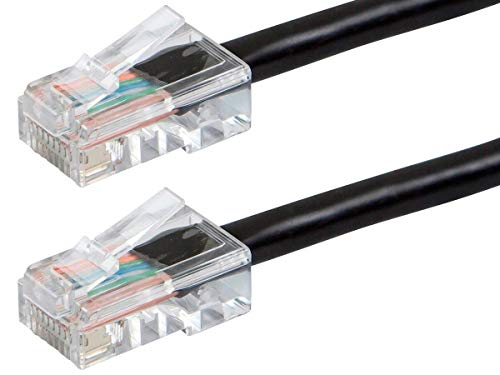 Monoprice ZerobootCat5e Ethernet Patch Cable - Network Internet Cord - RJ45, Stranded, 350Mhz, UTP, Pure Bare Copper Wire, 24AWG, 15ft, Black