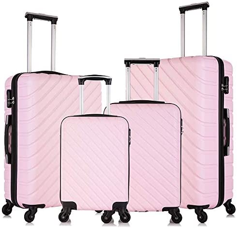 Fridtrip Carry On Luggage with Spinner Wheels Luggage Sets Travel Suitcase Hardshell Lightweight Light Pink, 4 PCS