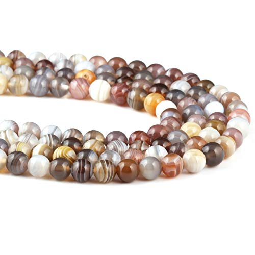 - Natural Stone Botswana Sardonyx Beads Round Loose Beads Birthday Gift for Jewelry Necklace Making 1 Strand 15