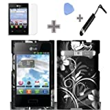Rubberized Black White Silver Vine Flowers Snap on Design Case Hard Case Skin Cover Faceplate with Screen Protector, Case Opener and Stylus Pen for LG Optimus Logic L35g / LG Dynamic L38c - StraightTalk / Net 10