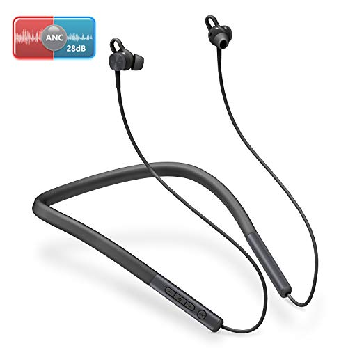BOMOW Active Noise Cancelling Earphones with Microphone, Bluetooth 5.0, IPX6 Waterproof