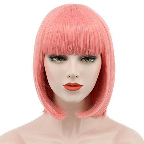 Karlery Women Short Straight Bob Fasion Wig Flat Bangs Cosplay Party Wig Costume Halloween Wig (Pink)