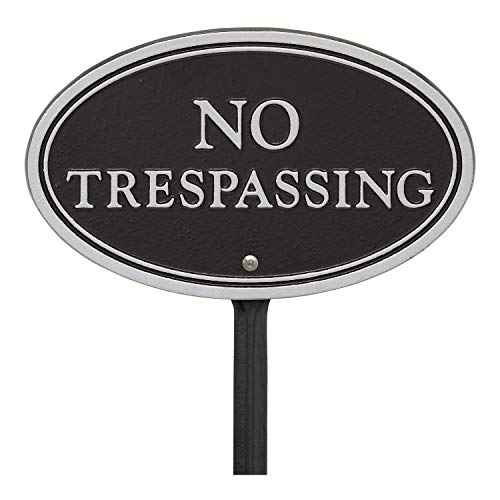 Whitehall Products 10573 Statement Marker-Wall/Lawn No Trespassing Plaque, 10 x 6, Black/Silver