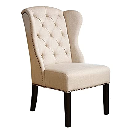 Abbyson Living Kyrra Tufted Linen Wingback Dining Chair In Cream