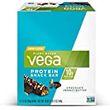 Vega Protein Snack Bar Chocolate Peanut Butter (12 Count) - Plant Based Vegan protein, Non Dairy, Gluten Free, Non GMO