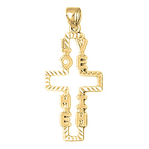 18K Yellow Gold Love Me I'm Cross Pendant - 37 mm by JewelsObsession (Image #3)