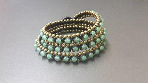 Handmade Women Jewelry Wax Cord Round Jade Woven Brass Be...