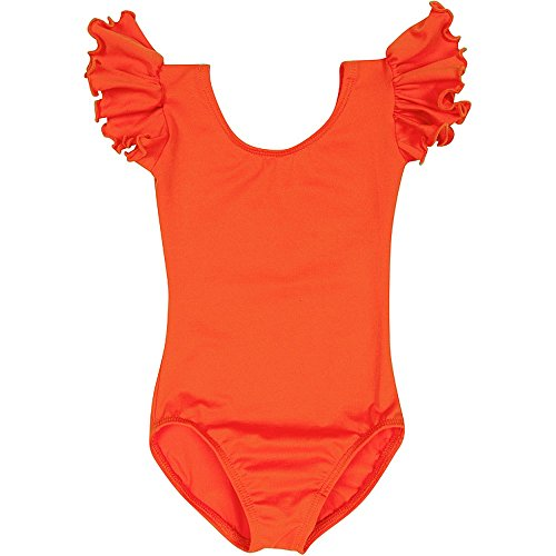 Toddler and Girls Leotard for Dance, Gymnastics and Ballet with Flutter Ruffle Short Sleeve Orange XS (2-3T)