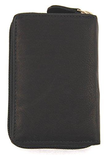 NB24 Geldbörse (HTT BLACK) für Damen und Herren, Echt Leder, schwarz