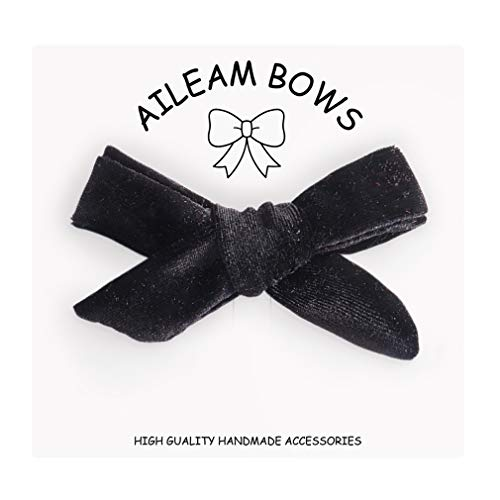 Hair Bows Clip Knotted Hair Clips Black Alligator Clip Velvet Ribbon Boutique Accessories for Newborns Little Girls Toddlers from Aileam