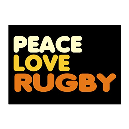 """Teeburon Peace, Love and Rugby Sticker Pack x4 6""""x4"""""""