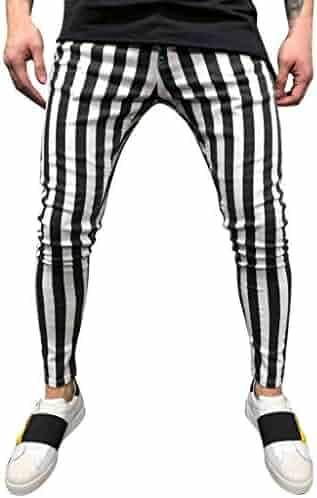 1d5d0122c92d5d Allywit Men's Gym Workout Stripe Jogger Pants Slim Fit Tapered Sweatpants  Running Track Pants Pockets