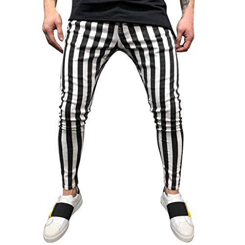 Stripe Sports Pants Outdoors Fashion Casual Stripe Fitness Sports Slim Running Pants Black ()