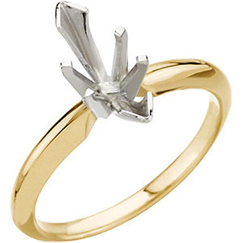 14k Yellow & White Gold 9.3x4.5mm Marquise Solitaire Engagement Ring Mounting, Size ()