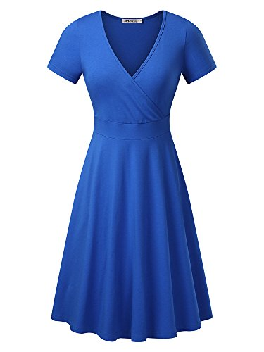 MSBASIC Women's Deep V Neck Short Sleeve Unique Cross Wrap Casual Flared Midi Dress Samll Blue