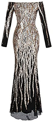 Angel-fashions Women's Boat Neck Long Sleeve Sequins Flapper Ball Gown