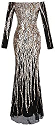 Women's Boat Neck Long Sleeve Sequins Gown