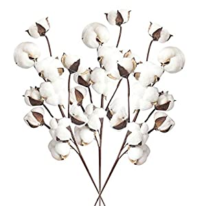Rumas MW61177 3Pcs Real Vision 21'' Atificial Cotton Stems Flowers Ornament - Lifelike Fake Flower Decor for Garden Lawn Patio - Home & Office Display - White 93
