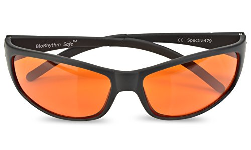 Blue Blocking Amber Glasses for Sleep - BioRhythm Safe(TM) - Nighttime Eye Wear - Special Orange Tinted Glasses Help You Sleep and Relax Your Eyes (Bright Orange Glass)