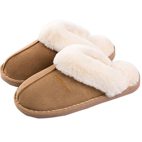 dbc69ae58b64 NiNE CiF Fuzzy Mule Slippers Indoor Non Slip Winter Memory Foam House  Slippers for Adult Men Women (40-41, Tan)