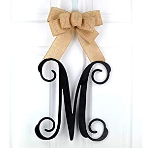 Birthday Gift for Mom | Monogram Gift | Wood Letter Initial Door Hanger Wreath - LOTS OF COLORS 49