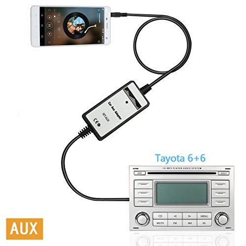 Moonet 3.5mm Audio Input Auxillary Aux Adapter Stereo Radio For 2003-UP Toyota 4Runner Avalon Camry Celica Corolla Yaris FJ Cruiser Highlander Landcruiser Matrix MR2 Tacoma Tundra Venza ()