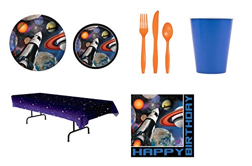 Solar System Space Blast Party Bundle for 8 - Plates, Napkins, Cups, Flatware, and Table Cover
