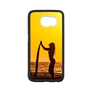 Popular And Durable Designed TPU Case With Surf Girl_003 For samsung galaxy s6 Cell Phone White Cover