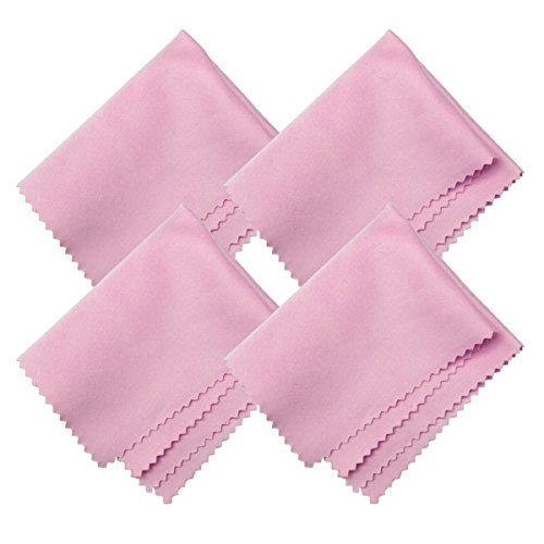 HTTX Microfiber Screen Cleaning Cloths, 4-Pack 6 x 7 inches for Cell Phones, Tablets, LCD TV, Laptop, Camera Lenses, Surface Tablet, Monitor, Car GPS Screens, Spectacles, Glasses, Watches [Pink] ()