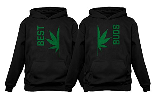 Best Buds Gift for Weed Lovers - Funny Cannabis Leaf Matching Hoodies Set Best Black Small/Buds Black Large