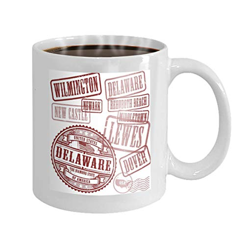 Birthday Mug Gifts 11Oz Tea Cup White stamps set names cities state delaware grunge rubber united states -