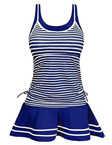 Swimdress Slimming Suit for Women Cross Over Padded Stripes Printed Tankini S Blue ()