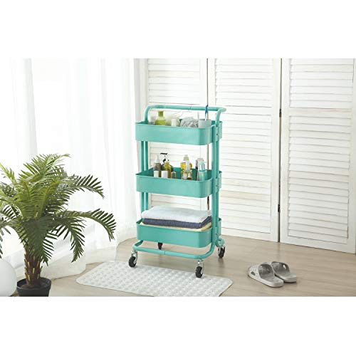 JAWM 3-Tier Utility Metal Cart with Wheels Storage Shelf Rack with Handle (Cyan-Blue)