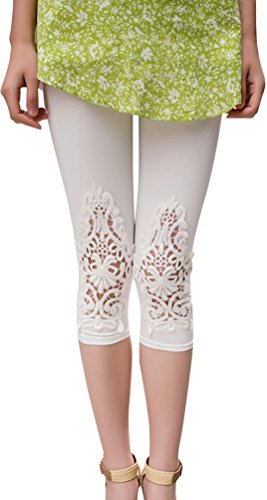 Summer Fairy Lace Wings - Junior Girl Toddlers Solid Color Cotton Leggings Lace Knee Applique White
