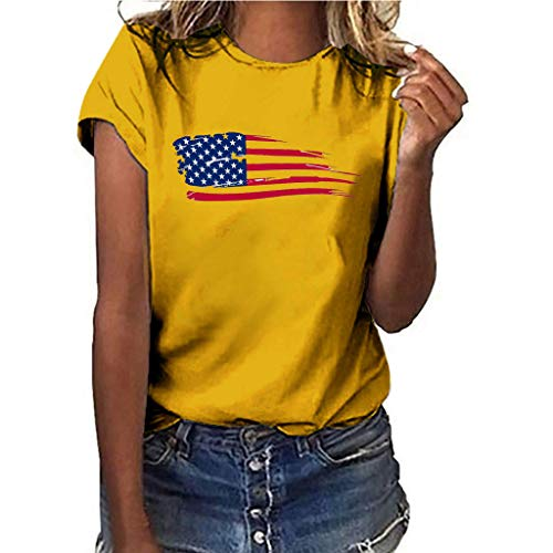 - Women July Fourth T-Shirt National Flag Independence Day Print Short Sleeve Tops D Yellow