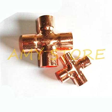 Color: 16mm x 1mm Fevas 1Pc 15//16//22mm x 1mm Copper End Feed Equal Cross 4 Ways Plumbing Sanitary Pipe Fitting for Gas Water Oil