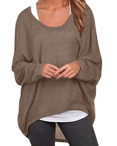 ZANZEA Donna Maglia a Manica Lunga Cardigan Asimmetrico Camicia Pullover Camicetta Superiore Marrone 2