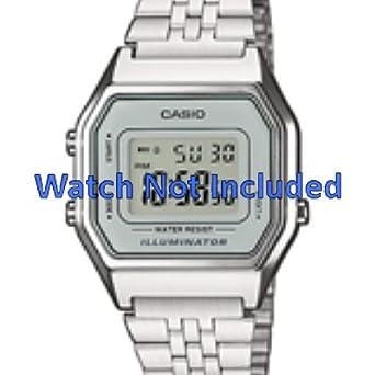 1b9654d32648 Casio watch strap LA680WEA-7EF   LA680WEA-7 Steel Silver (Only watch strap  - WATCH NOT INCLUDED!)  Amazon.co.uk  Watches