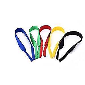 Teemico 5 Pack Neoprene Elastic Eyeglass and Sunglass Retainer Strap Band Eyewear Holder Strap Head Band Floater Cord,5 Colors