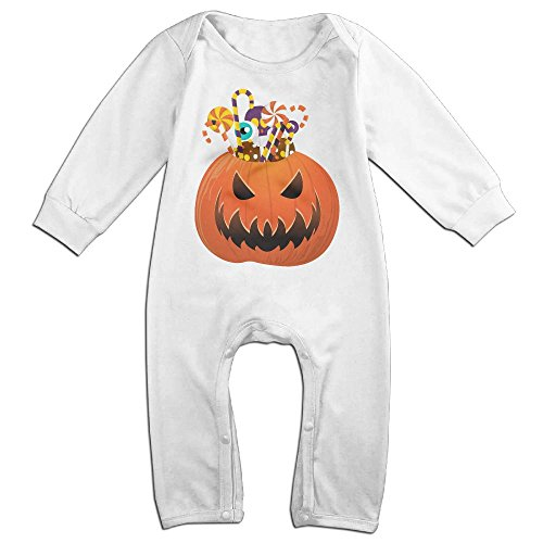 Baby Infant Romper Halloween Pumpkin Long Sleeve Playsuit Outfits White 12 Months