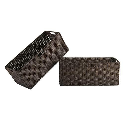 Wood & Style Premium Décor Foldable 2-pc Large Corn Husk Baskets, Chocolate