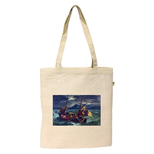 Christ On Sea Galilee (Eugene Delacroix) Hemp/Cotton Flat Market Bag - Or In Shopping Eugene