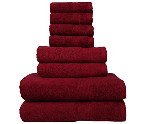8 Piece Towel Set 100% Combed Cotton Luxury Towel Pack Premium Quality Towels Pack for Bathroom Gym Hotel Spa and Travel Hand Towel Face Cloth Bath Towels