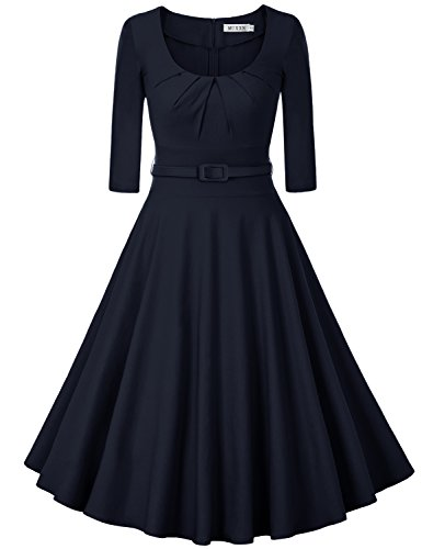 MUXXN Women's 1950s Vintage 3/4 Sleeve Pleated Scoop Neckline Swing Cocktail Dress (2XL, Blue)