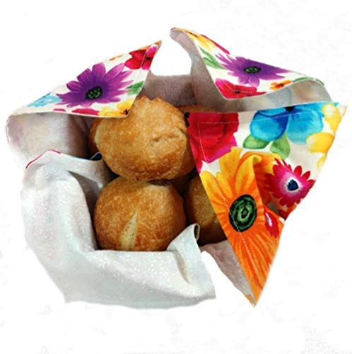 Basket Liner and Warmer for Rolls and Breads in Large Floral Print