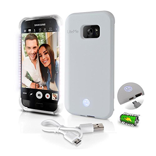 Samsung Galaxy S7 Phone Case - Lite-Me Selfie Lighted Edge Smart Mobile Case with Built-in Power Bank, LED Lights - Heavy Duty Cellphone Protection Cover for Men/Women - SereneLife SL302S7WT (White)